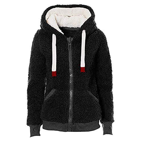 Deelin dames winter zacht pluche teddy fleece effen met ritssluiting sweatjas mantel trainingspak