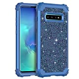Casetego Compatible with Galaxy S10 Case,Floral Three Layer Heavy Duty Hybrid Sturdy Shockproof Full Body Protective Cover Case for Samsung Galaxy S10,Shiny Blue