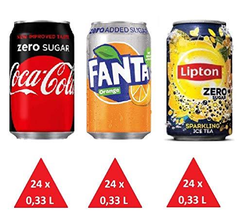 Zuckerfrei Paket: 72 Einweg-Dosen 0,33L (24 x Cola Zero 24 x Fanta Zero 24 x Lipton Ice Tea Sparkling Zero) inkl. gratis FiveStar Kugelschreiber