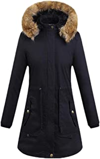 Womens Winter Hooded Warm Long Coats Thicken Fleece Lined Overcoats Tops Outwear