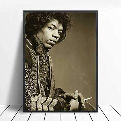 qiaolezi Impresión de Cartel de Jimi Hendrix Impresión de Cantante Famoso, Leyendas de la música Rock Fotografía Vintage Carteles en Blanco y Negro Arte de la Pared Pintura A431 50 × 70 CM Sin Marco