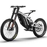 Adulte électrique VTT, Tout-Terrain Hors Route Neige Moto électrique, Equipé 60V30AH * -21700 Li-Batterie Innovation Cruiser vélo,Blanc
