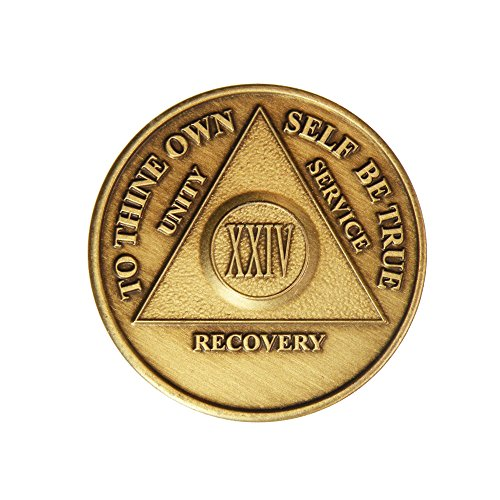 Generic 24 Jahre Bronze AA (Alkoholiker anonym) – Nüchternheit / Nüchternheit / Geburtstag / Jahrestag / Erholung / Medaillon / Münze / Chip