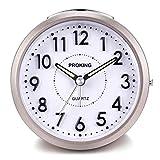 Despertador Analógico de Viaje,Reloj de Alarma para Niños Pequeño Tamaño con Pilas Que no Hace Tictac Posponer Funciones de luz Reloj de Mesa de Noche Reloj Despertador (Rosa)