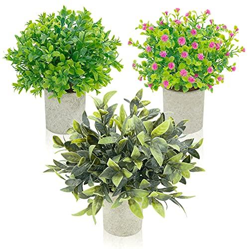 Magilot Plantas Artificiales Decorativas - Decoracion Hogar Habitacion Salon - Pack 3 Plantas Medianas con Diseño Hiperrealista