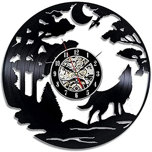 mbbvv Reloj de Pared de Vinilo LED de Lobo, Reloj de Pared con Registro, Reloj de Pared temático,...