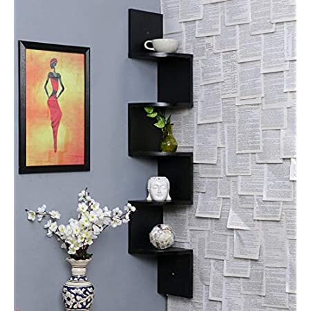 Classic Shoppe Zigzag Corner Wall Mount Shelf Unit/Racks and Shelves/Wall Shelf/Book Shelf/Wall Decoration