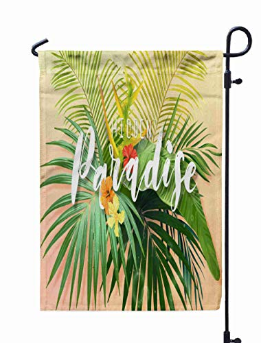 UIJDIAm Garden Flag Stand,Welcome Garden Flag Bright Exotic Summer to Tropical Plants Flowers Background Hibiscus Royal Banana Palm Tree Leaves 12X18 inches,Garden Flag Set,Green Green