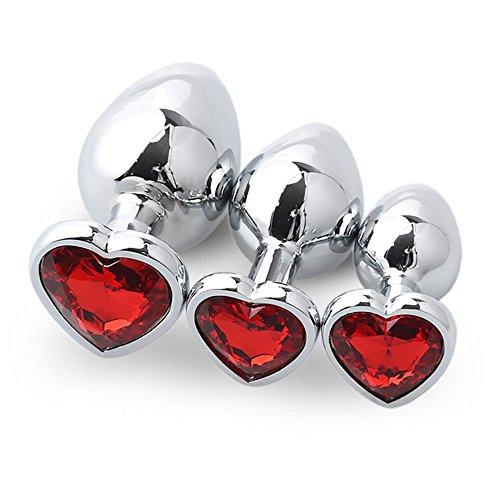 LOVESHOP 3 Piezas de corazón en Forma de núcleo con Piedras Preciosas Birthstone Ass - Anal Pink Gems Sex Game Rojo