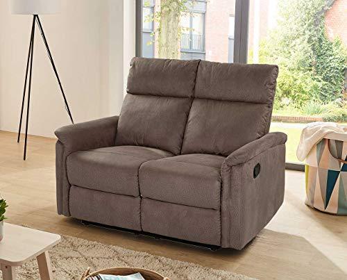 lifestyle4living 2 Sitzer Sofa in braunem Microfaser mit praktischer Relaxfunktion, verstellbares Funktionssofa zum relaxen und genießen