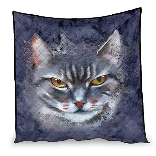 Zhouwonder Manta de edredón con tinta para la cara del gato, calmante y transpirable, para sofá cama, sala de estar, color blanco, 130 x 150 cm