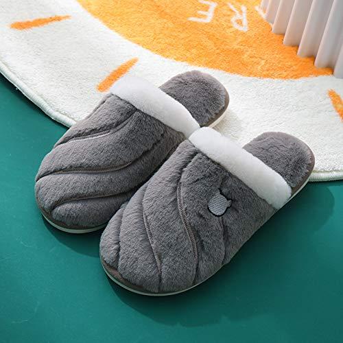 XJJ Damen Baumwollpantoffeln,Frauen Baumwolle Hausschuhe Herbst Winter Einfachheit Twill Paar Wärme Plüsch Weiche Bequeme Fußschutz Nach Hause Twill Dark Gary Hausschuhe, 40,41