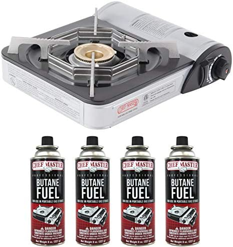 Chef Master 90011 Portable Butane Stove 10 000 BTU Outlet Carrying Case Included Stove 4 Fuel product image