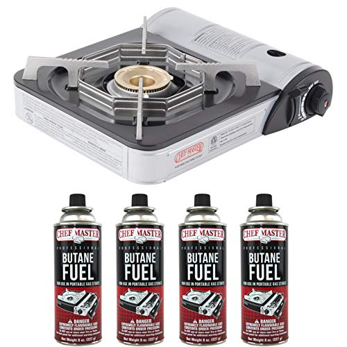 CHEF MASTER 90011 Portable Butane Stove   10,000 BTU Outlet   Camp Kitchen Equipment   Emergency Stove   Hurricane Stove   Single Burner Camp Stove   Camping Cooking Stove + 4 Fuel Canisters