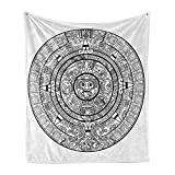 Lunarable Mesoamerican Soft Flannel Fleece Throw Blanket, Maya Calendar Accurate Antiquities Astrological Aztec Geometric Indigenous, Cozy Plush for Indoor and Outdoor Use, 70' x 90', Black White