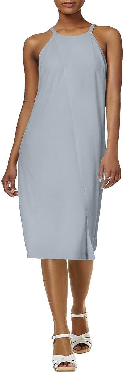 bar III Women's Matte Jersey Faux Wrap Casual Dress