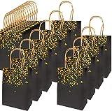 ZJW 20 Pièces Sac Cadeau Sac en Papier Kraft, avec Beau Design Doré, Exquis et Durable