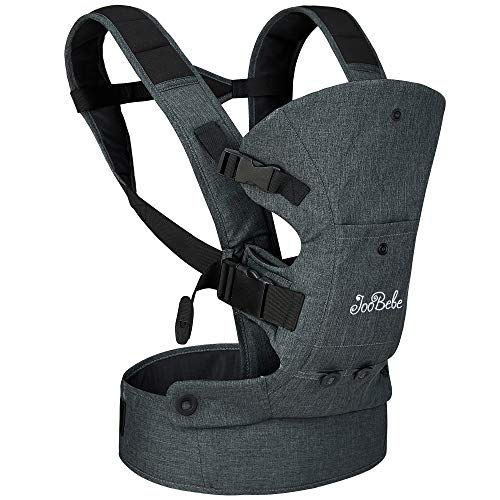 JooBebe 4 in 1 Front Back Baby Carrier/ Ergonomic Hands-Free Infant Holder/ Adjustable Head Support Kids Sling Wrap/ Child Convertible Carrier Backpacks with 2 Pockets for Newborn Toddler 8-33lbs