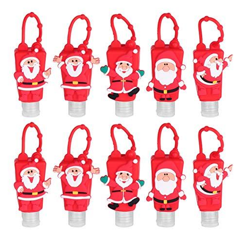 Cabilock 10 Stück Kinder Händedesinfektionsmittel Flasche Cartoon Santa Leer Nachfüllbare Flüssigseifenetui Halter Handlotion Reiniger Spender für Reise Schlüsselbund Tasche Kleiderbügel