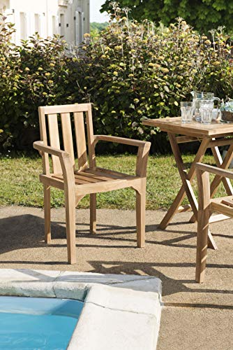 MACABANE 500999 Lot de 2 fauteuils empilables mh Couleur Brut en Teck Dimension 60cm X 62cm X 92cm