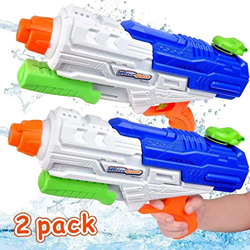 MOMOTOYS Super Water Gun Toys 2 Pack Water Soaker Blasters 1250CC High Capacity Squirt Guns Long Range 35Ft Water Pistol Shooter Pool Party Favors for Kids Adults Game Summer Gift Water Fun Fight Toys