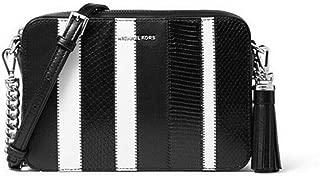 michael kors black and white striped handbag