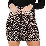 ZODOF Falda con Estampado de Leopardo para Mujer Cintura Alta Lápiz Atractivo Bodycon Mini Falda de ...