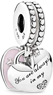 Mother & Daughter Hearts Dangle Charm, Sterling Silver, Soft Pink Enamel & Clear Cubic Zirconia, One Size