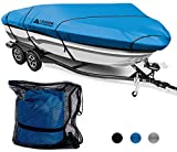 Leader Accessories 300D Polyester 5 Colors Waterproof Trailerable Runabout Boat Cover Fit V-Hull Tri-Hull Fishing Ski Pro-Style Bass Boats, Full Size (16 -18.5 L Beam Width up to 94  , Navy Blue)