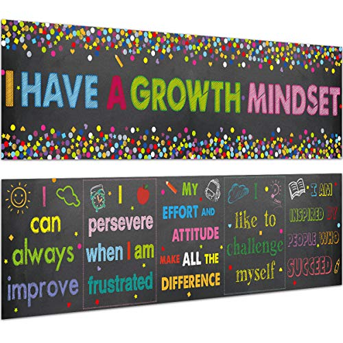 Classroom Banner Growth Mindset Poster for Classroom Bulletin Board Decoration