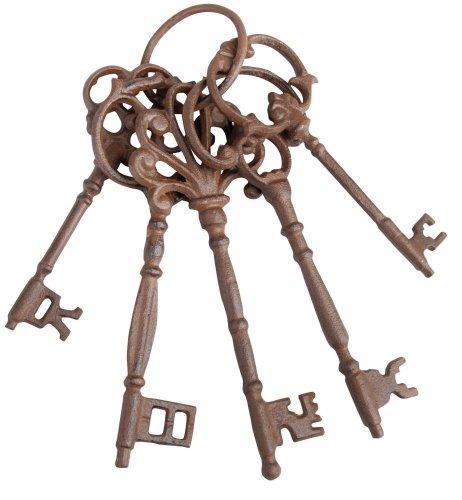 Esschert Design Schlüsselbund, groß, Dekoschlüssel, Schlüsselring, fünf Schlüssel, Gusseisen, rötlich, Maße 6,5x8x24,5 cm