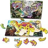 Arkmiido Rompecabezas de Madera para bebés niños 2 PCS Niños Dinosaurio Juguete Gran Regalo Juguetes educativos para niños y niñas