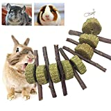 Bunny Chew Toys for Teeth, PeSandy Organic Apple Wood Molar Sticks with Timothy Hay Circles for Bunny Chinchilla Guinea Pig Hamsters Holland Lop Prairie Dogs Squirrels Gerbils, Improves Dental Health