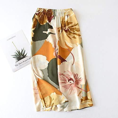 RIQWOUQT Pantalón De Pierna Ancha Mujer Patrón De Crisantemo Naranja Señoras Inicio Primavera Verano Pijamas Pijamas Sueltos Estampados Pantalones De Pantorrilla Pijamas De Salón De Rayón Spunbo
