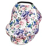 Multi Use Nursing Breastfeeding Cover Scarf-Car Seat Canopy by Busy Monkey-Shopping Cart-High Chair-Stroller and Carseat Covers for Boys and Girls-Infinity Stretchy Shawl-Baby Shower-Floral