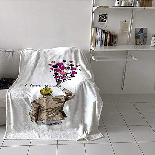 Bed Blanket Romantic Comic Male Character Writing Declaration of Love with Valentines Heart Perfect Summer Blanket Custom from Your Photo Multicolor (70 x 84 Inches)