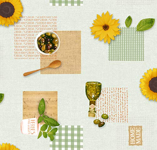 Mambo-Design PVC Tischdecke Helia Sonnenblume Wachstuch • Länge & Breite wählbar• abwaschbare Tischdecke Oliven Karo grün, Größe:140 x 100 cm