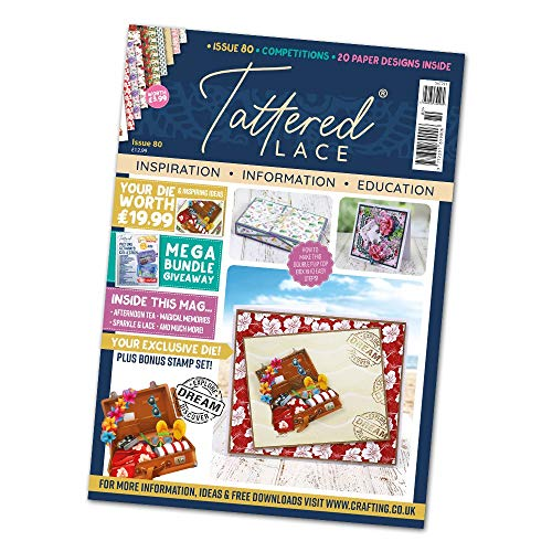 Tattered Lace Magazine Issue 80 – con maleta de vacaciones gratis Die Plus Bonus Explore Stamp