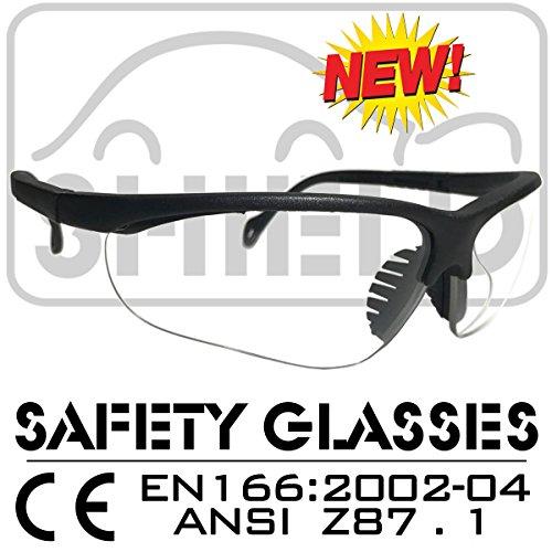 SHIELD *Shooter* Clear Sport Schutzbrille, Sicherheitsbrille, Schießbrille, Arbeitsschutzbrille nach DIN EN-166, Bikerbrille