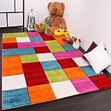 Paco Home Kinder Teppich Karo Design Multicolour Grün Rot Grau Schwarz Creme Pink, Grösse:140x200 cm