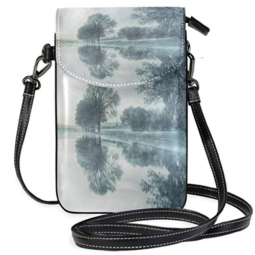 XCNGG Small Crossbody Coin Purse Nature Tree Fog Waters Snow Lake Mirroring Phonepurse for Women Bags Leather Multicolor smart phone Bags Purse With Removable Strap
