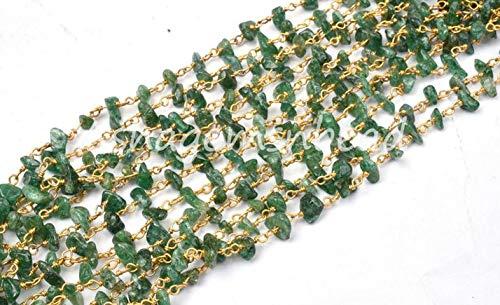 Shree_Narayani Cadena de rosario con cuentas de mica, verde natural, sin cortar, de 10 pies, cadena de rosario de mica, alambre chapado en oro, rollo a granel, joyería que hace cuentas de piedra natal
