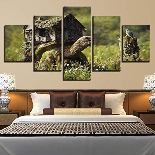 13Tdfc Cuadro En Lienzo, Imagen Impresión, Pintura Decoración, Canvas De 5 Pieza, 150X80 Cm,Casa De Madera Y Animal Tortuga Ave Naturaleza Mural Moderno Decor Hogareña