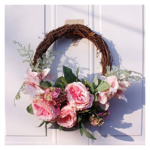 35cm Seide Künstliche Kranz Simulation Rose Blume Kranz Fenster Hochzeit Party Dekor Vordertür Wandbehang (Farbe : A1)
