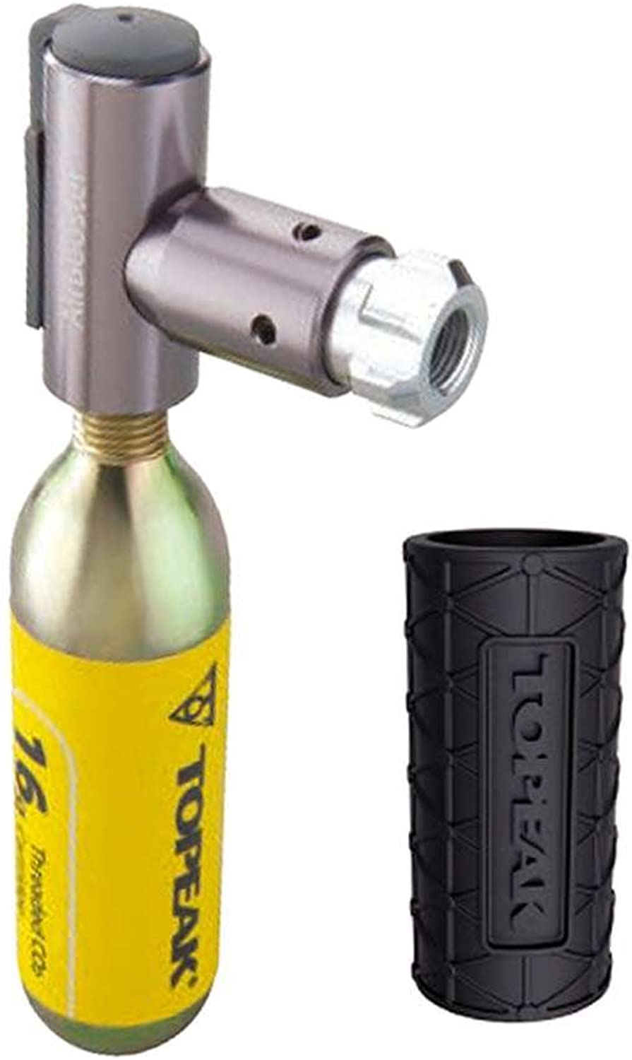Topeak Air Booster CO2 Inflator Head with 1 Piece 16 g CO2 Cartridge & Predective Sleeve