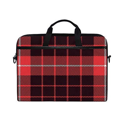 Laptop Sleeve Case,Laptop Bag,Christmas Red Black Plaid Grid Geometric Pattern Water Briefcase Messenger Notebook Computer Bag with Shoulder Strap Handle,28.5×38 CM/14 Inch