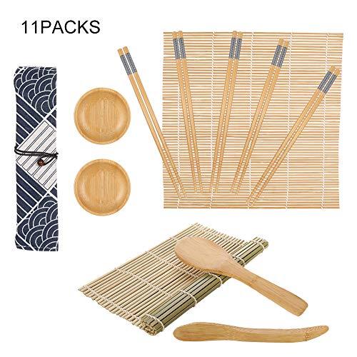 SUSSURRO Sushi Set, Bambus Sushi Matte 12 Teile - Sushi Maker Set für Anfänger, Sushi Selbst Machen Set Sushi Maker Set für Anfänger