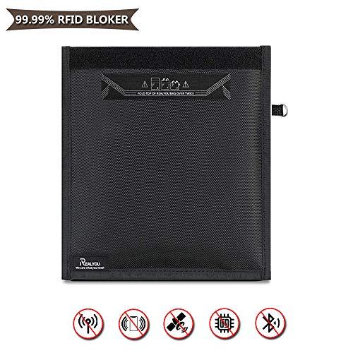 Grote Faraday-tas voor autosleuteltelefoon, signaalblokkeeretui voor creditcards, oproep-WiFi GPS-beschermer 25 * 28cm Zwart