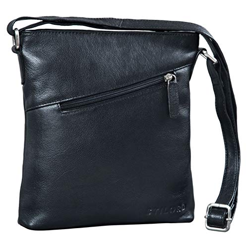 STILORD 'Stella' Vintage Handtasche Damen Leder klein zum Umhängen Schultertasche für Freizeit Shopping Abend Tablettasche Echtleder, Farbe:schwarz
