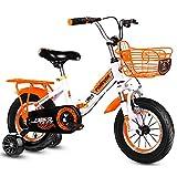 ZXQZ Bicicleta para Niños de 12/14/16 Pulgadas, Bicicletas de Carretera Abatibles con Amortiguación con Soporte para El Asiento Trasero y Ruedas Auxiliares, para Niños y Niñas